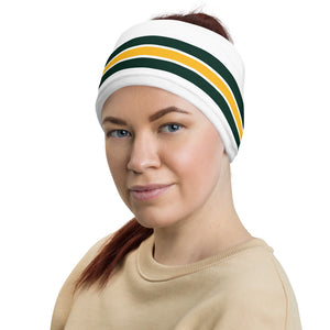 Green Bay Packers Style Neck Gaiter as Head Band on Woman Left