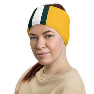 Green Bay Packers Style Neck Gaiter as Headband on Woman
