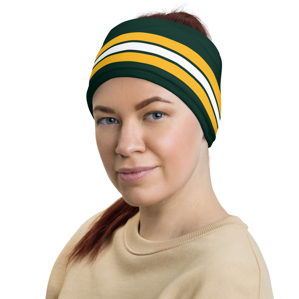 Load image into Gallery viewer, Green Bay Packers Style Neck Gaiter as Head Band on Woman Left