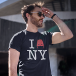Man wearing Devil of Hell's Kitchen I Love New York Daredevil Black T-Shirt