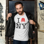 Man in leather jacket wearing Devil of Hell's Kitchen I Love New York Daredevil White T-Shirt