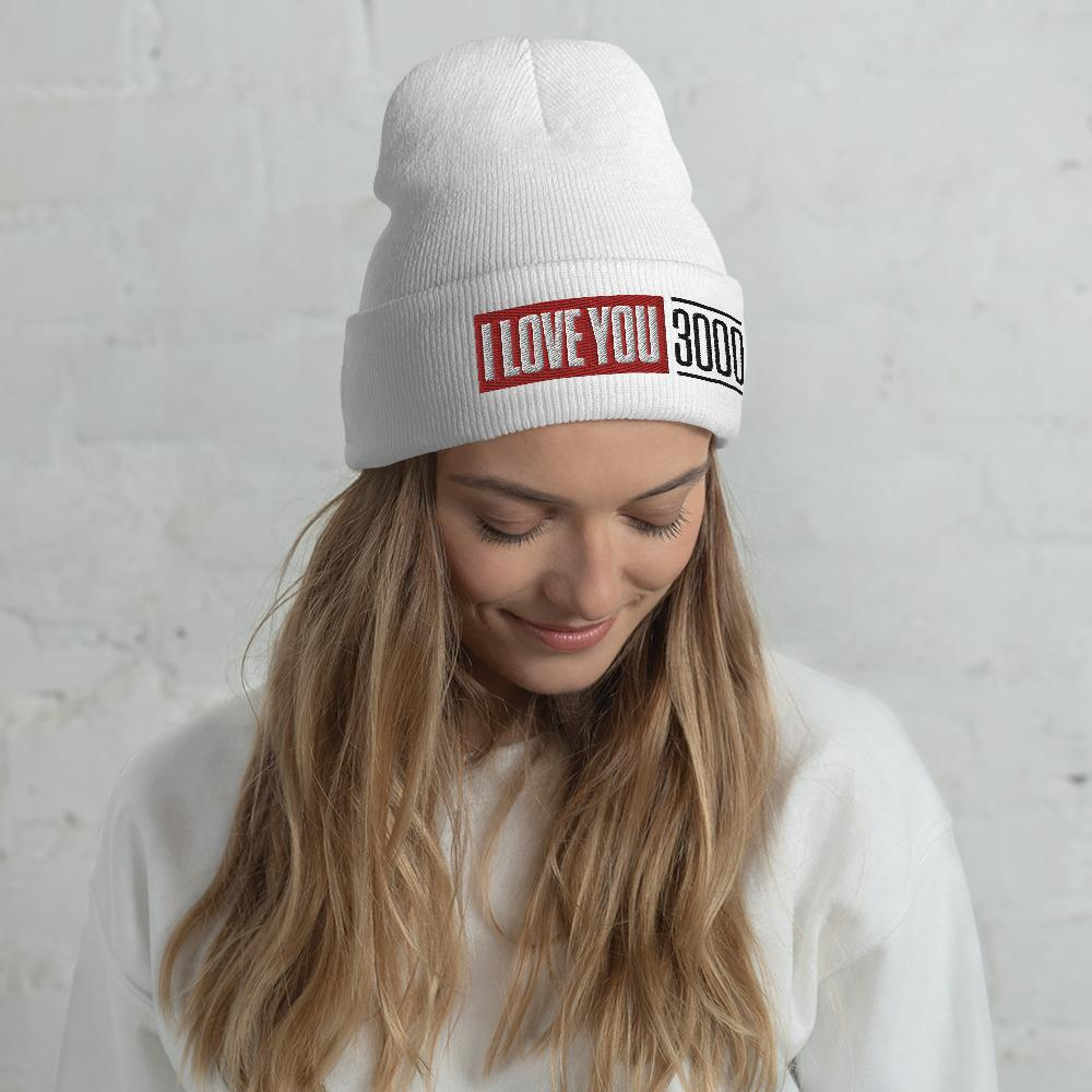 Woman wearing White I Love You 3000 Beanie