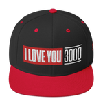 Black and Red I Love You 3000 Snapback Hat Front