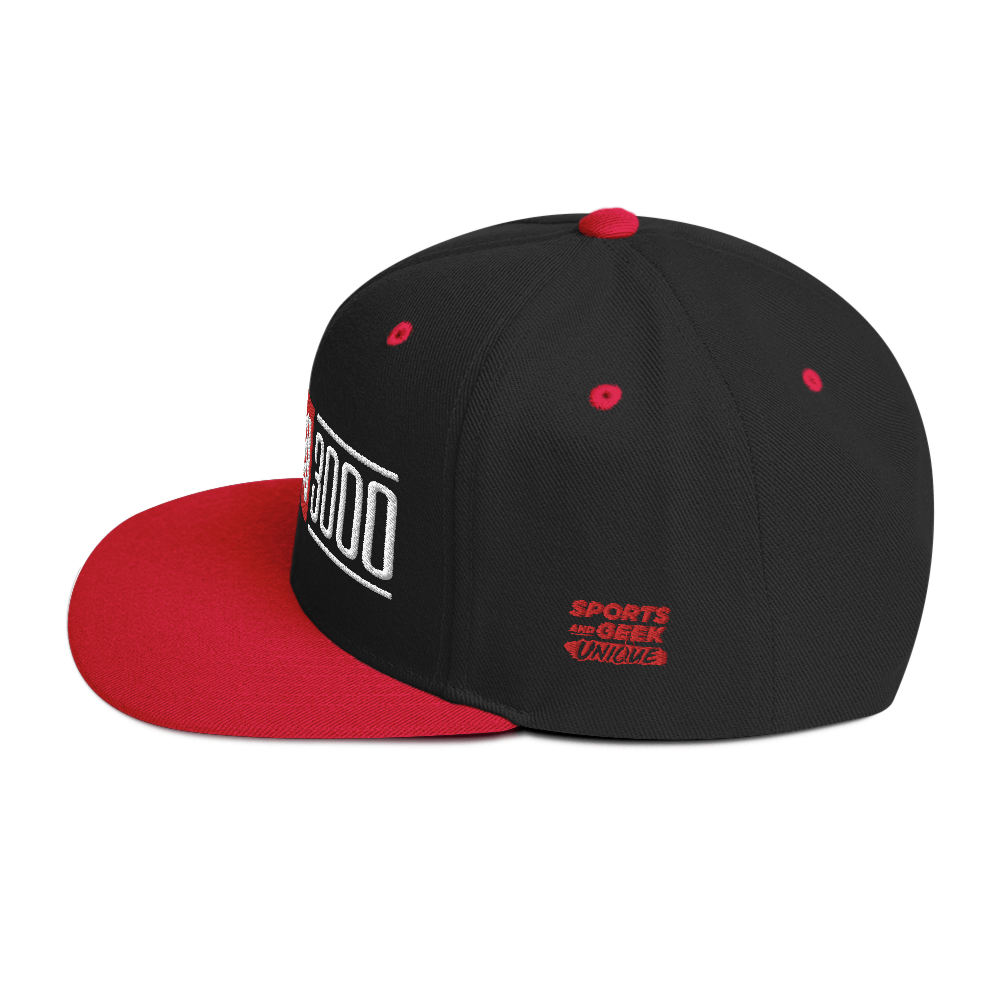 Black and Red I Love You 3000 Snapback Hat Side