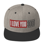 Heather and Black I Love You 3000 Classic Snapback Hat Front