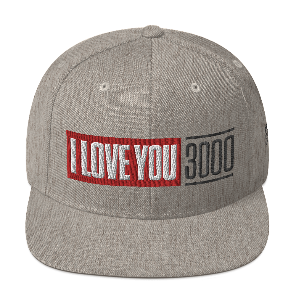 Heather Grey I Love You 3000 Classic Snapback Hat Front