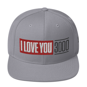 Silver I Love You 3000 Classic Snapback Hat Front