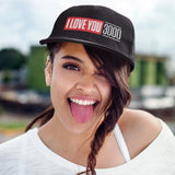 Smiling woman wearing Black I Love You 3000 Classic Snapback Hat
