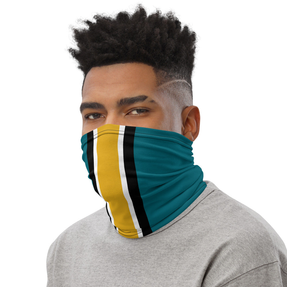 Load image into Gallery viewer, Jacksonville Jaguars Style Neck Gaiter as Face Mask on Man Left
