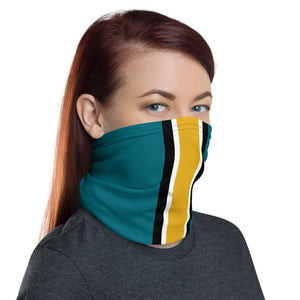 Jacksonville Jaguars Style Neck Gaiter as Face Mask on Woman Right