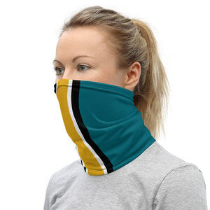 Jacksonville Jaguars Style Neck Gaiter as Face Mask on Woman Left