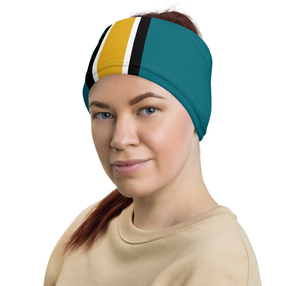 Jacksonville Jaguars Style Neck Gaiter as Head Band on Woman Left