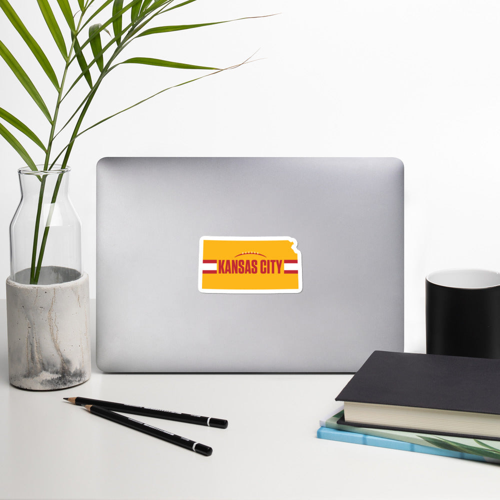 Kansas City Football Kansas Outline Yellow Sticker Decal on Laptop