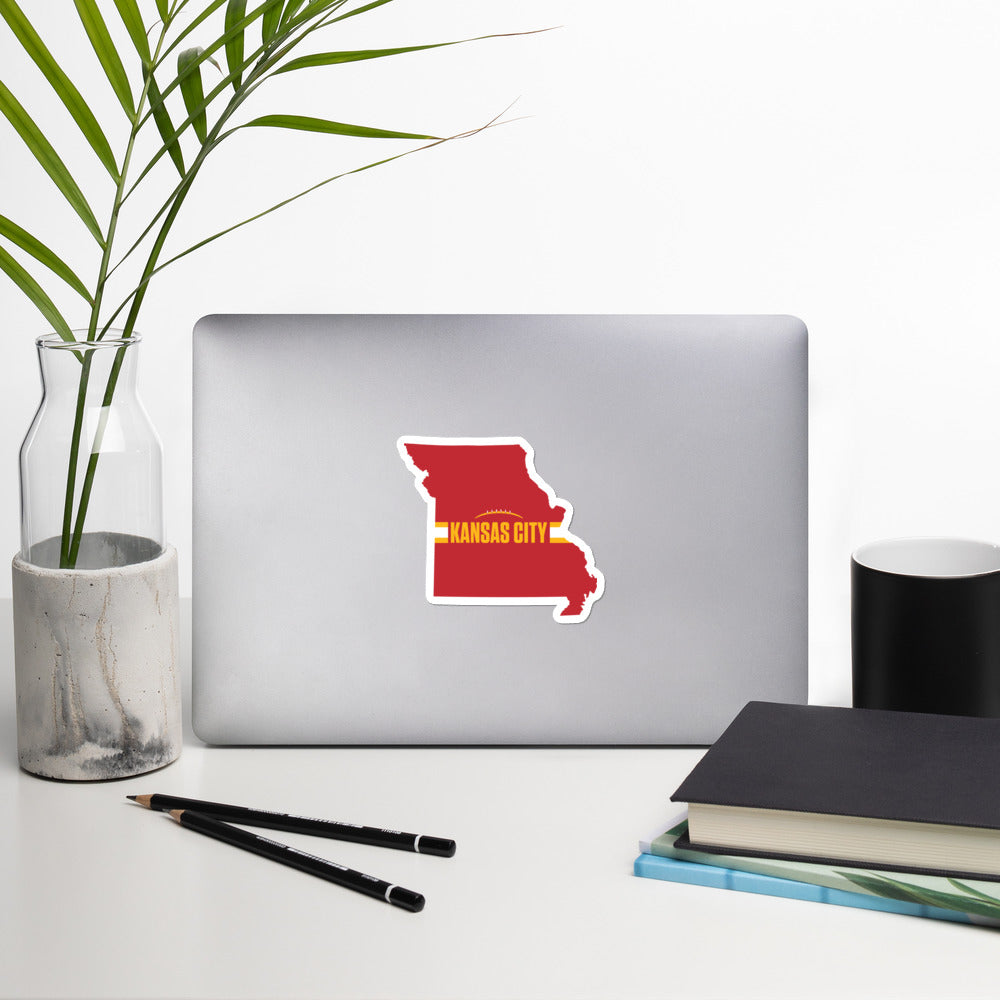 Kansas City Football Missouri Outline Red Sticker on Laptop