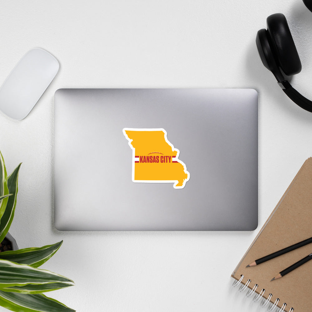 Load image into Gallery viewer, Kansas City Football Missouri Outline Yellow Sticker on Laptop