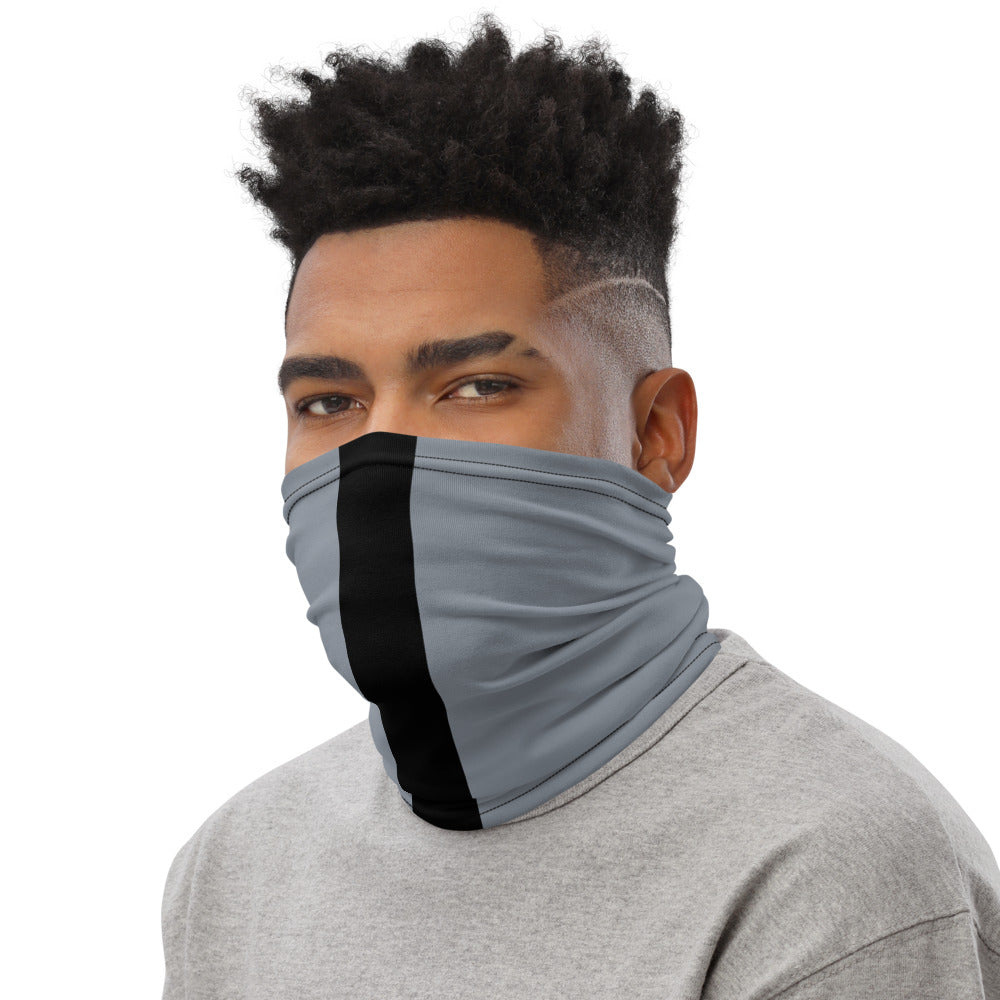 Las Vegas Raiders Style Neck Gaiter as Face Mask on Man Left