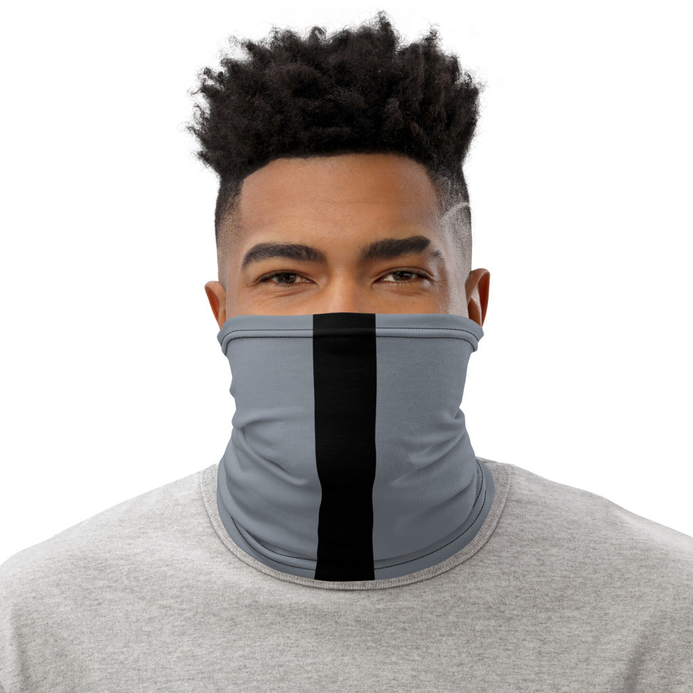 Las Vegas Raiders Style Neck Gaiter as Face Mask on Man
