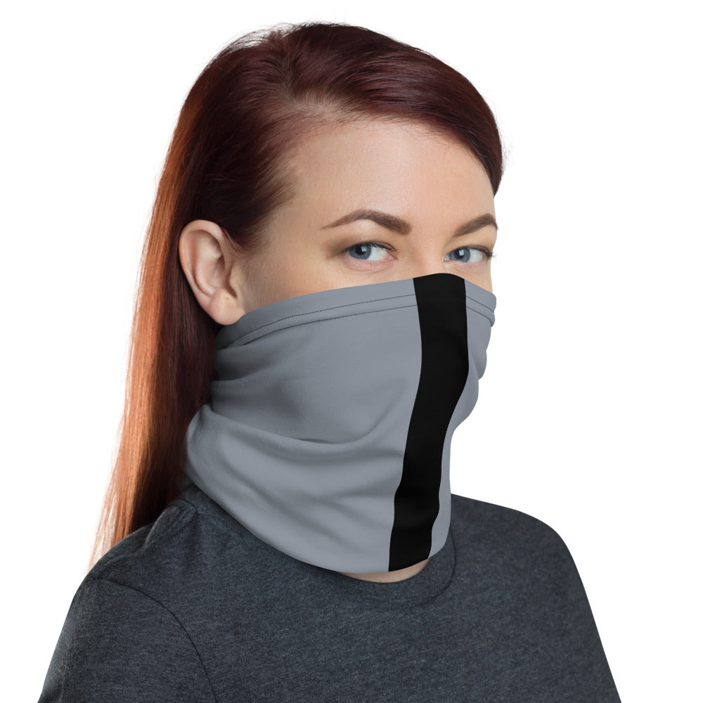 Las Vegas Raiders Style Neck Gaiter as Face Mask on Woman Right