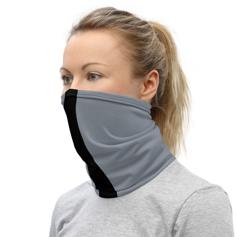 Las Vegas Raiders Style Neck Gaiter as Face Mask on Woman Left