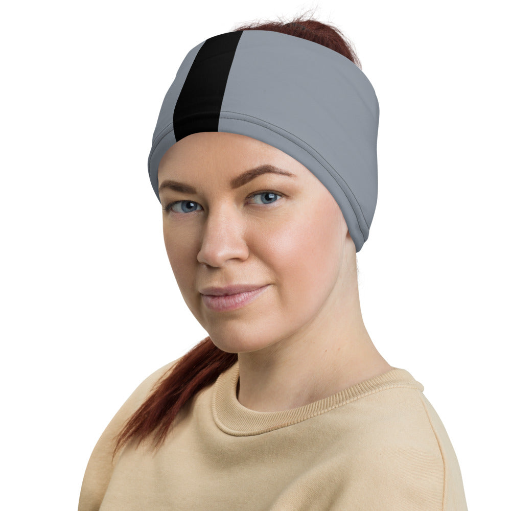 Las Vegas Raiders Style Neck Gaiter as Head Band on Woman Left
