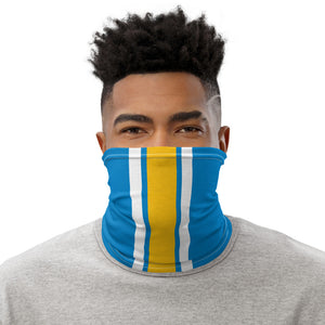 Los Angeles Chargers Style Neck Gaiter as Face Mask on Man
