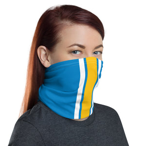 Los Angeles Chargers Style Neck Gaiter as Face Mask on Woman Right