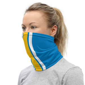 Los Angeles Chargers Style Neck Gaiter as Face Mask on Woman Left