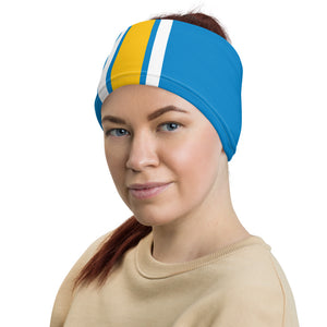 Los Angeles Chargers Style Neck Gaiter as Head Band on Woman Left