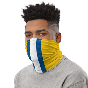 Los Angeles Rams Style Neck Gaiter as Face Mask on Man Left
