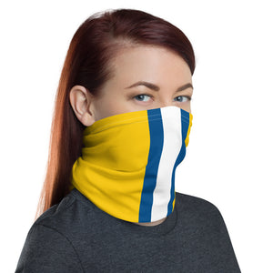 Los Angeles Rams Style Neck Gaiter as Face Mask on Woman Right