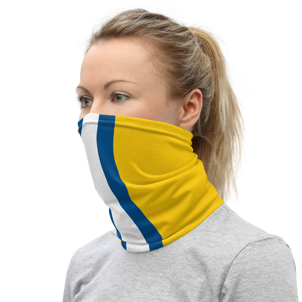 Los Angeles Rams Style Neck Gaiter as Face Mask on Woman Left