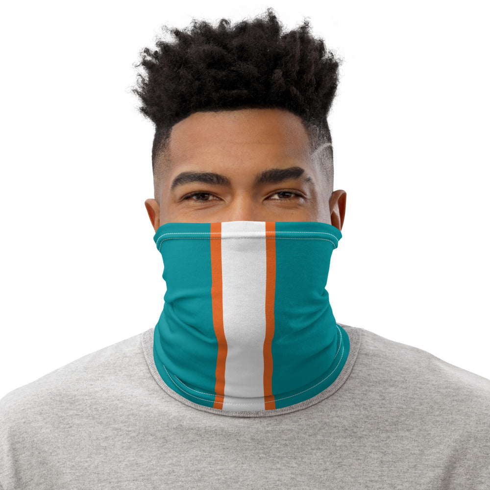 Miami Dolphins Style Neck Gaiter as Face Mask on Man