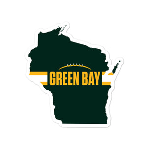 Green Bay Football Wisconsin Outline Sticker (Green Design)