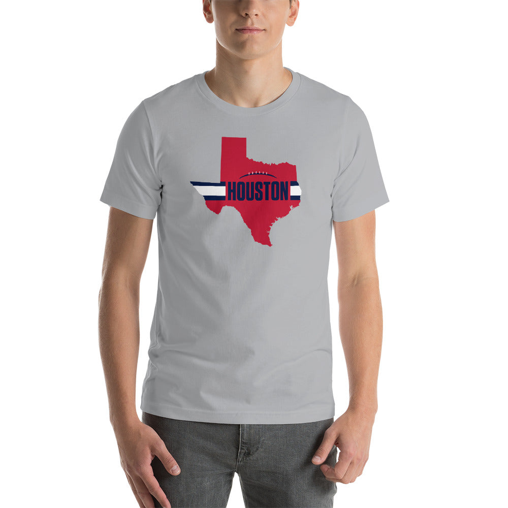 Houston Football Texas Outline Short-Sleeve Unisex T-Shirt (Red Design)