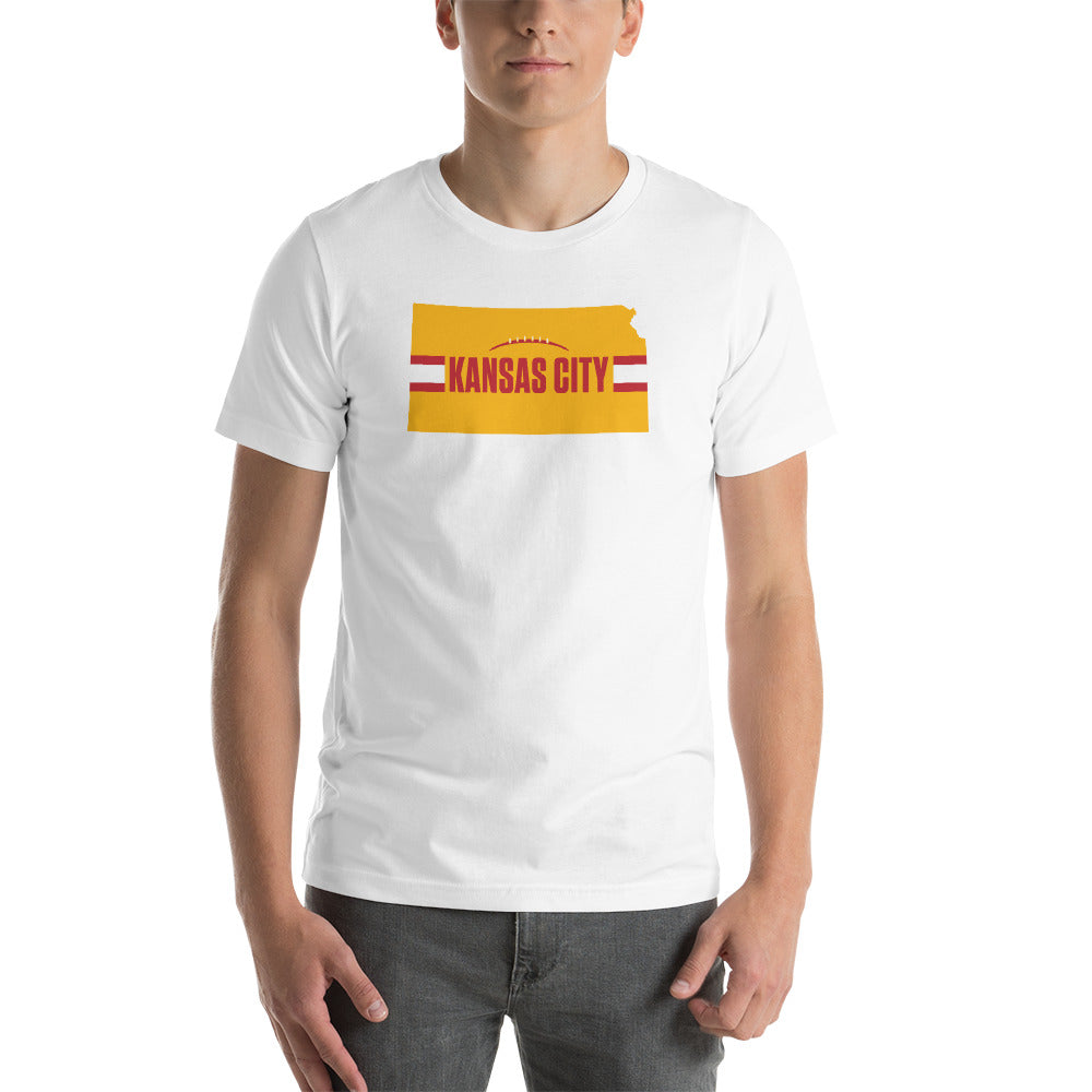 Load image into Gallery viewer, Kansas City Football Kansas Outline White T-Shirt - Yellow Design