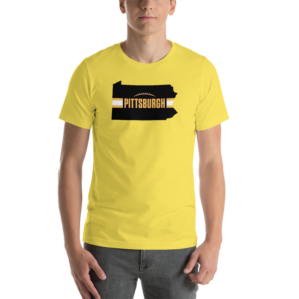 Pittsburgh Football Pennsylvania Outline Short-Sleeve Unisex T-Shirt (Black Design)