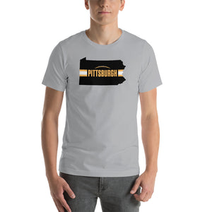 Load image into Gallery viewer, Pittsburgh Football Pennsylvania Outline Short-Sleeve Unisex T-Shirt (Black Design)
