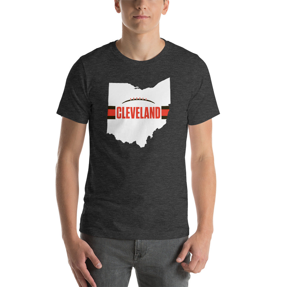 Load image into Gallery viewer, Cleveland Football Ohio Outline Short-Sleeve Unisex T-Shirt (White Design)