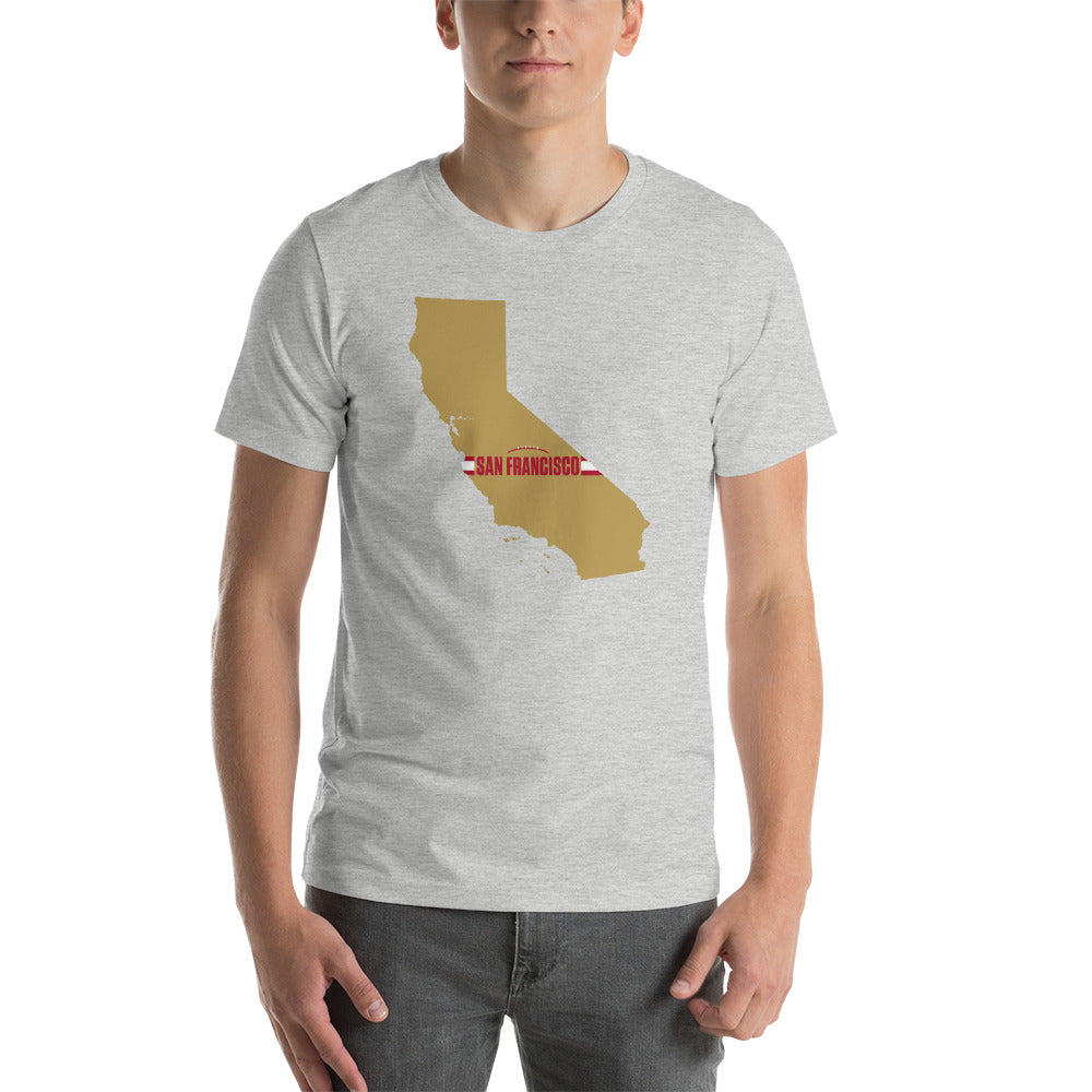 San Francisco Football California Outline Short-Sleeve Unisex T-Shirt (Gold Design)