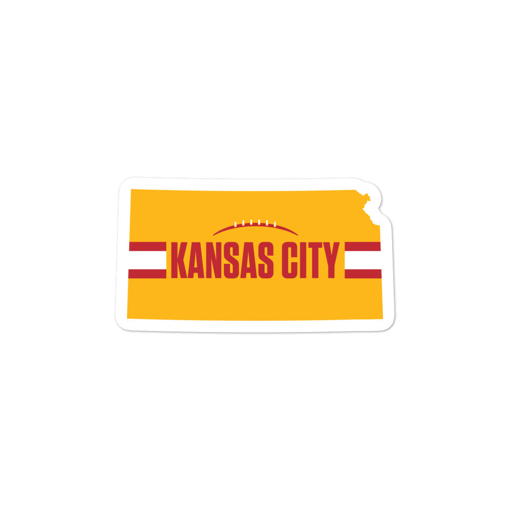 Kansas City Football Kansas Outline Yellow Sticker Decal 3 x 3