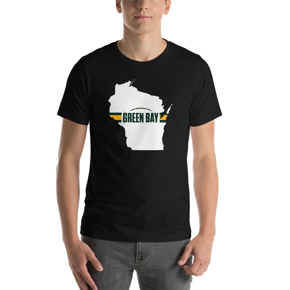 Green Bay Football Wisconsin Outline Short-Sleeve Unisex T-Shirt (White Design)