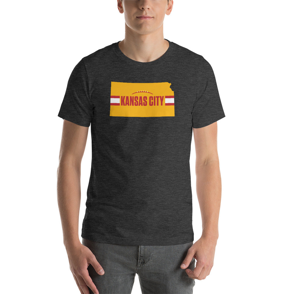 Load image into Gallery viewer, Kansas City Football Kansas Outline Dark Grey Heather T-Shirt - Yellow Design