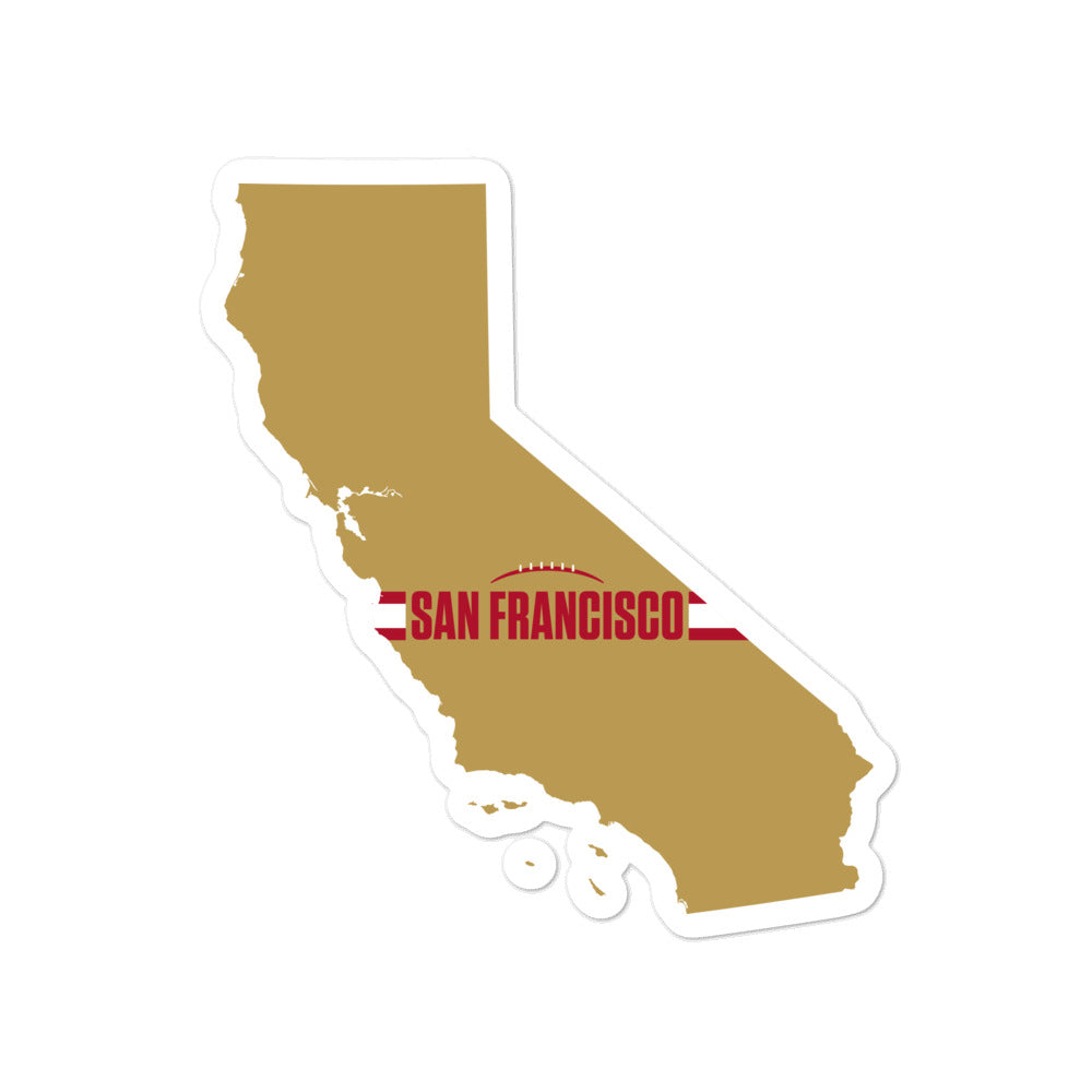 Load image into Gallery viewer, San Francisco Football California Outline Sticker (Gold Design)