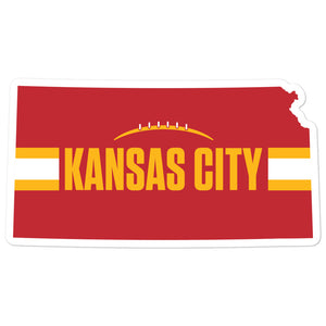 Kansas City Football Kansas Outline Red Sticker Decal 4 x 4