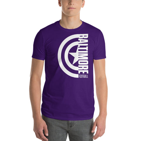 Captain Baltimore Football Short-Sleeve Unisex T-Shirt Alt (White Design)