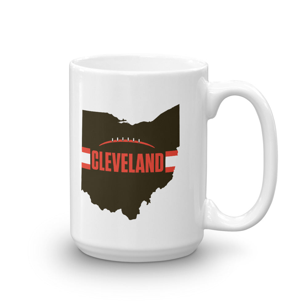 Load image into Gallery viewer, Cleveland Football Ohio Outline Mug (Brown Design)