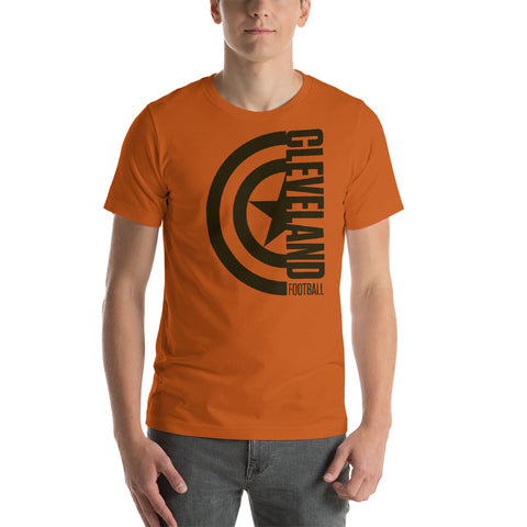 Captain Cleveland Football Short-Sleeve Unisex T-Shirt (Brown Design)