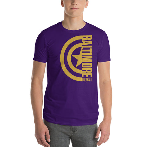 Captain Baltimore Football Short-Sleeve Unisex T-Shirt Alt (Gold Design)