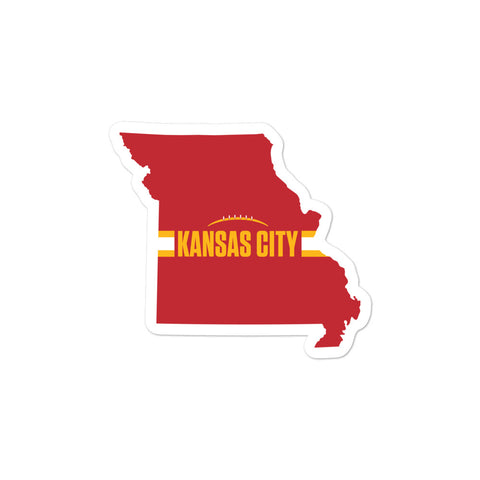 Kansas City Football Missouri Outline Red Sticker 3 x 3