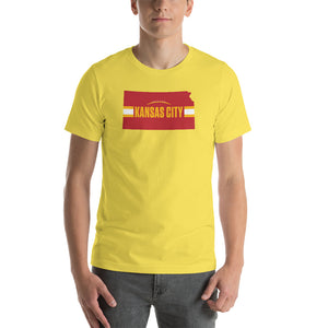 Load image into Gallery viewer, Kansas City Football Kansas Outline Yellow T-Shirt - Red Design
